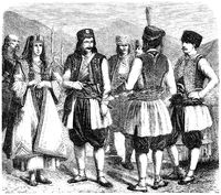 Greek and Albanian Warriors, people picture from the 19th Centur