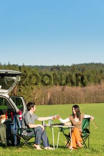 Camping car young couple enjoy picnic countryside