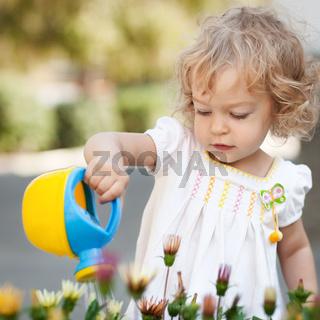 Child in spring garden
