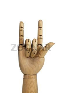 Handmodell aus Holz, isoliert auf weissem Hintergrund
