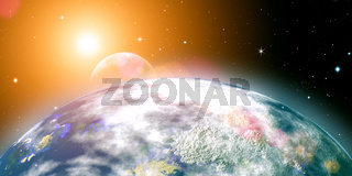 Risins sun over the planet Earth, abstract backgrounds. No NASA imagery used