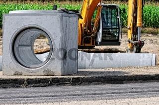 Kanalbau-Baustelle