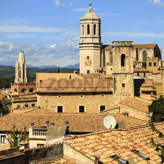 View Of Girona Cathedral From City Walls Spain
