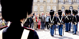 Changing of the guard in front of Amalienborg in Copenhagen, Denmark