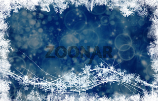 Background and bright flashes and snowflakes particles