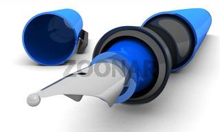 Füllfederhalter im Detail Blau Schwarz