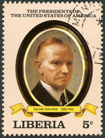 LIBERIA - 1982: shows President Calvin Coolidge (1923-1929), series the Presidents of the USA
