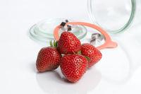Mason jar and strawberries