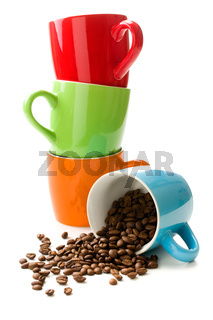 colorful mug with coffee beans