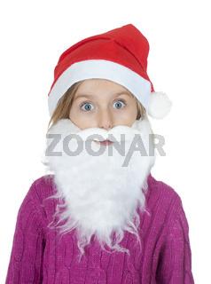 kleines maedchen mit bart und weihnachtsmuetze