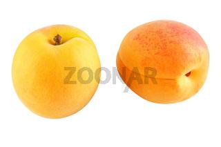 Zwei reife Aprikosen - freigestellt