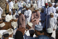 buyers and sellers at the livestock market, Nizwa,
