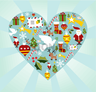 Christmas icon set in heart shape