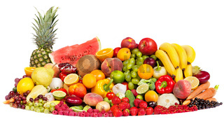 Huge group of fresh vegetables and fruits