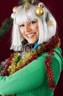Frohe Weihnachsfrau
