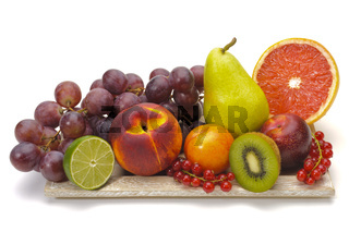 plate with fresh mixed fruits