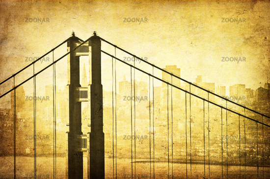 Grunge image of Golden Gate Bridge, San Francisco, California