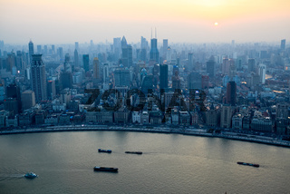 aerial view of shanghai bund at sunset