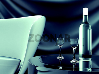sofa table and drinks in a bottle and glasses