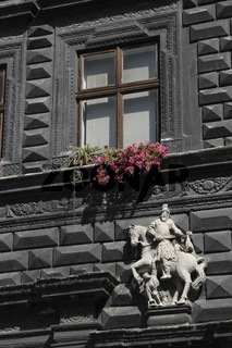 Black House (Czarna Kamienica / Чо́рна кам'яни́ця) on the Market Square in the Old Town of Lviv (Lwów)
