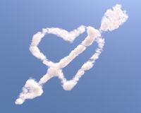 Heart shaped cloud with arrow