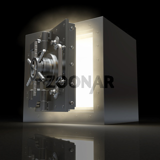 Opening vault and volume light on black background. 3d