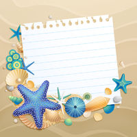 Greeting card with shells and starfishes