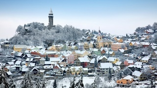 View of snowy historical town Stramberk in the Czech Republic - Europe