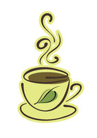 Cup of hot herbal tea and leaves on white background. Vector eps10 illustration
