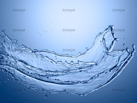 water splash on blue background