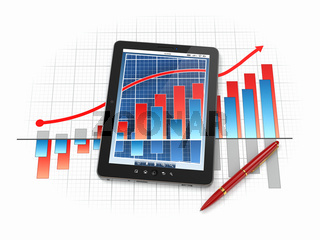 Digital tablet pc with financial chart and graph. 3d