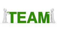 business men green team word