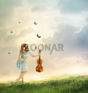 Little Girl with Violin in a Fantasy Landscape