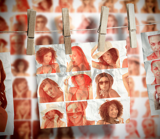 Pegs hanging pictures showing women in swimsuit
