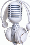 White microphone and headphones over white background