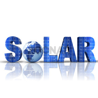 word Solar with 3D globe replacing letter O