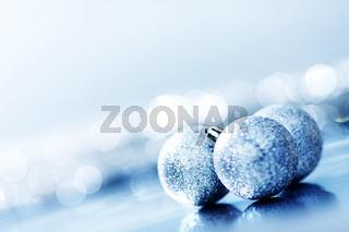 blue christmas ball macro close up