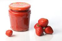 Strawberries and homemade jam