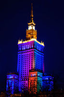Palace of Culture and Science at night. Warsaw, Poland