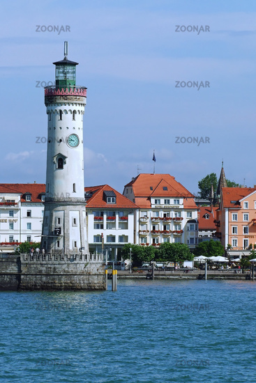 Light house at the entrance to the port of Lindau