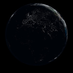 Highly detailed illustration of Earth at night with city lights
