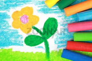 Kinderbild einer Blume auf einer Wiese