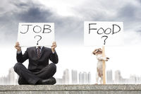 businessman looking for a job and dog looking for