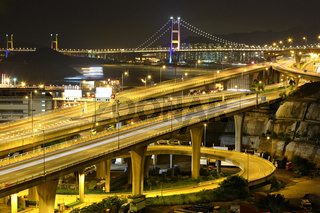 freeway and bridge at night