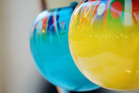 Close up of abstract colorful balls with flags
