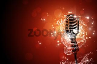 Retro microphone music background