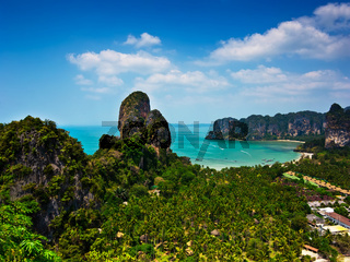 Tropical beach landscape panorama. Thailand