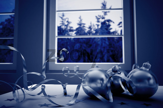decorations on a background winter landscape in a window in christmas night