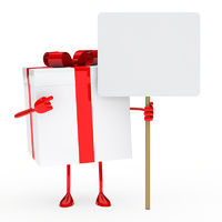 red white gift box billboard