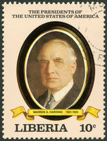 LIBERIA - 1982: shows President Warren G. Harding (1921-1923), series the Presidents of the USA
